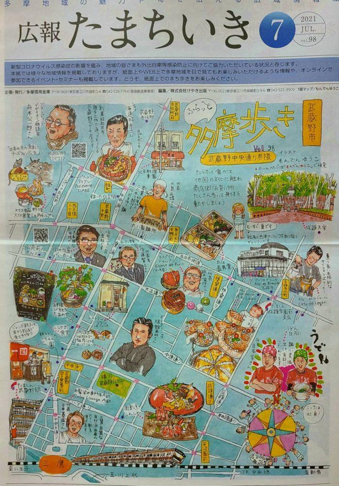武蔵野中央通り界隈のイラストマップ